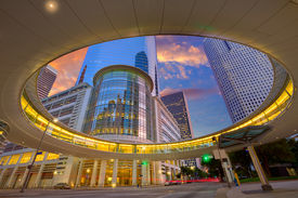 stock photo of nightfall  - Houston Downtown sunset modern skyscrapers at Texas US USA - JPG