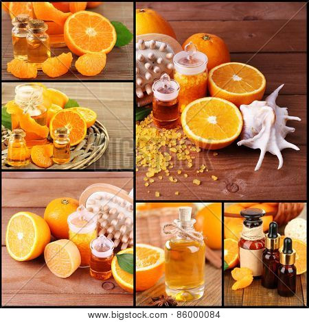 Orange spa compositions in collage