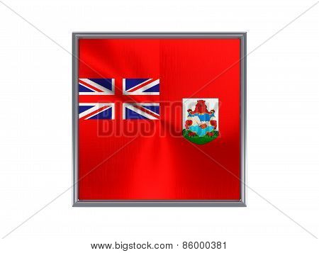 Square Metal Button With Flag Of Bermuda