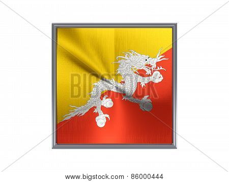 Square Metal Button With Flag Of Bhutan