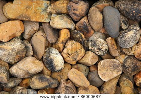 Pile Of Round Pebble Stones