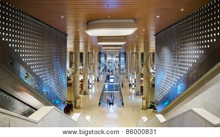 Mumbai, India - December 25, 2014: Tourist At Chhatrapati Shivaji International Airport. Terminal 2