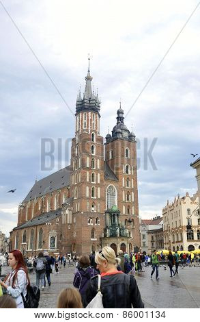 KRAKOW,POLAND-AUGUST19:Church St Mary in Krakow,Poland on august 19 2014