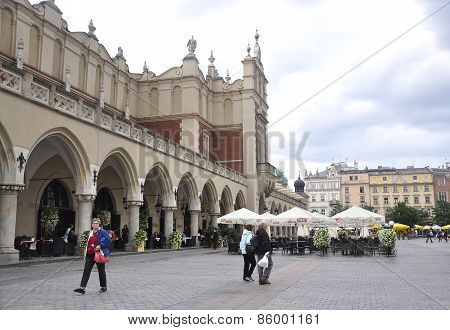 KRAKOW,POLAND-AUGUST 19:Cloth Hall building from downtown in Krakow Polonia on august 19 2014