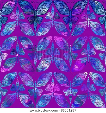 Vector seamless pattern with butterfly. Abstract seamless butterfly ornament.