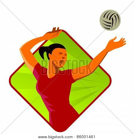 Volleyball Player Spike Ball Retro
