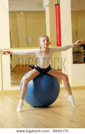 Little Gymnast Girl On Ball
