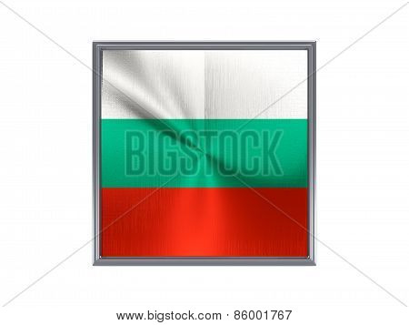 Square Metal Button With Flag Of Bulgaria