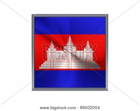 Square Metal Button With Flag Of Cambodia