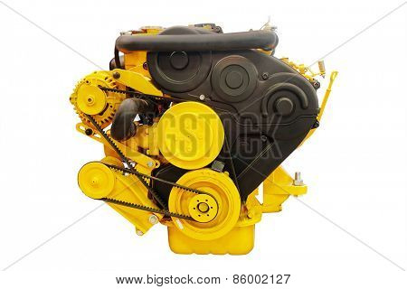 Boat engine under the white background