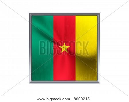 Square Metal Button With Flag Of Cameroon