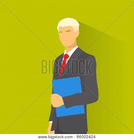 Businessman wear elegant fashion suit hold blue folder, business man flat