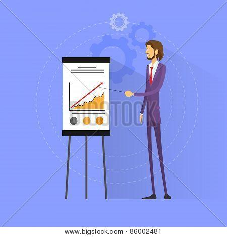 businessman show graph flat design vector