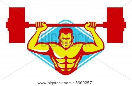 Weightlifter Bodybuilder Lifting Weights Retro