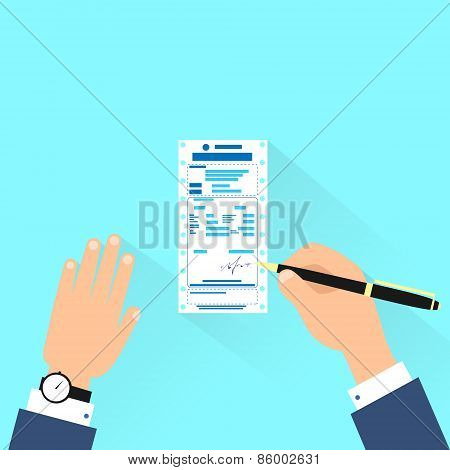 bill sign up, businessman hands with pen payment flat design