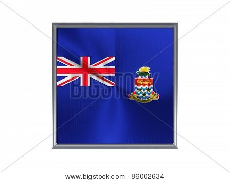 Square Metal Button With Flag Of Cayman Islands