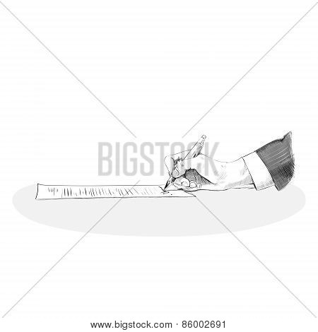business man hand hold pen write sign up contract paper document sketch