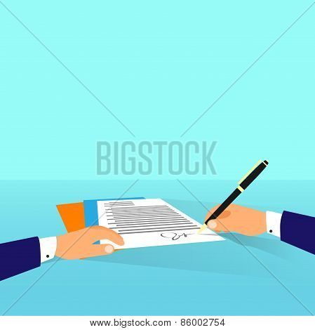 Business man document signing up contract agreement, Businessman workplace at office desk write