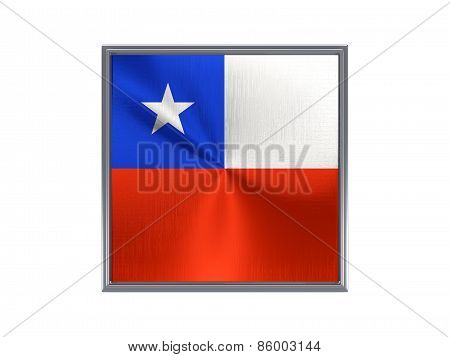 Square Metal Button With Flag Of Chile
