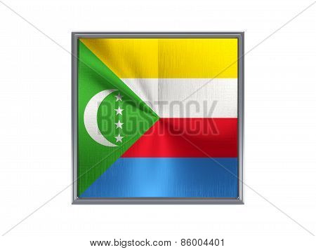 Square Metal Button With Flag Of Comoros