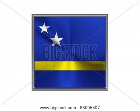 Square Metal Button With Flag Of Curacao