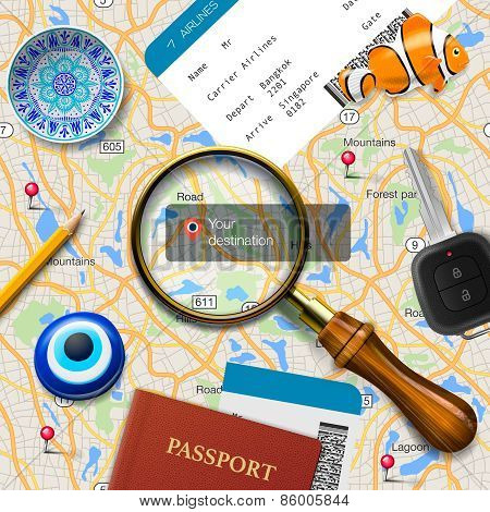 Travel concept. Navigation - You are here. International passport, boarding pass, tickets, magnets a