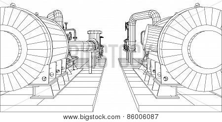 Wire-frame  industrial equipment oil and gas pump. EPS 10 vector format