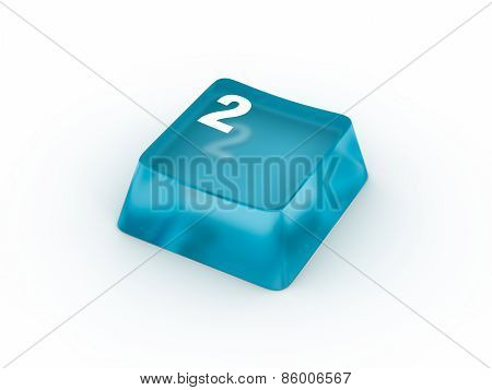 Keyboard button with number TWO