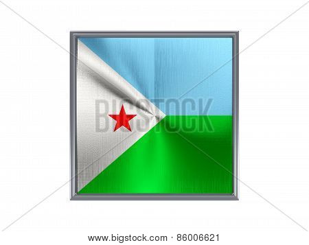 Square Metal Button With Flag Of Djibouti