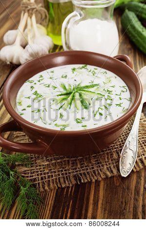 Summer Soup With Cucumbers, Yogurt And Fresh Herbs