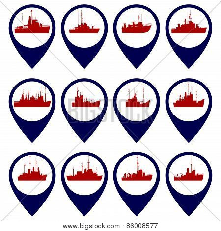 Badges with Navy ships
