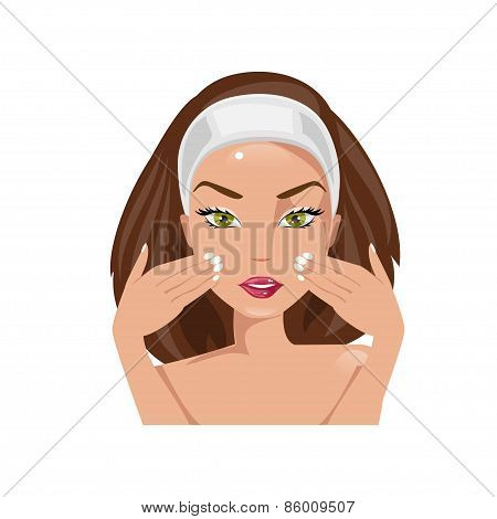 Facial Massage. Vector Illustration