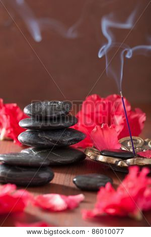 azalea flowers black massage stones incense sticks for aromatherapy spa