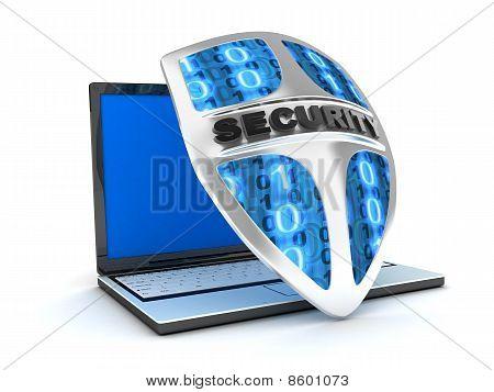 Laptop And Shield Antivirus