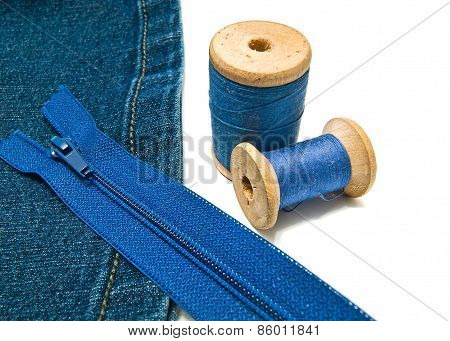Denim With Zipper And Threads