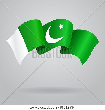 Pakistani waving Flag. Vector illustration
