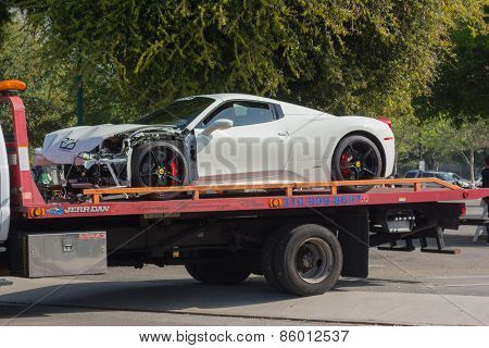 Ferrari 458 Broken On Tow Truck