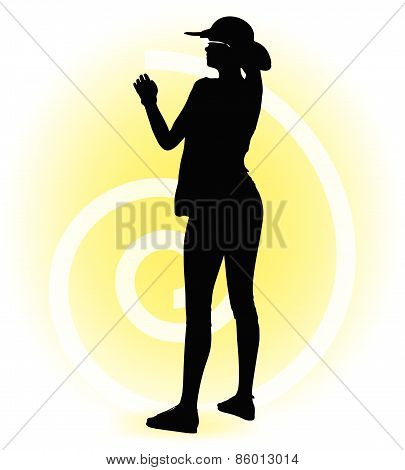 Tourist Woman Silhouette With Handbag And Sunglasses