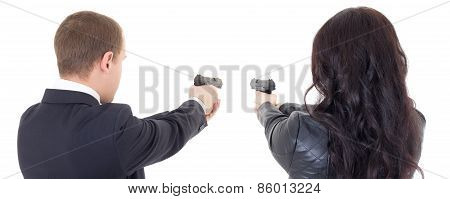 Back View Of Man And Woman Shooting With Guns Isolated On White