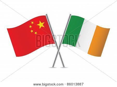 Chinese and Irish flags. Vector illustration.