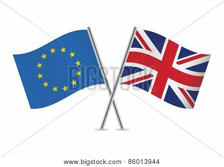 European Union and British flags. Vector illustration.
