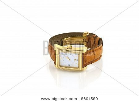 Golden Watch With Leather Strap