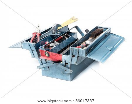 Metal toolbox with various tools over white background
