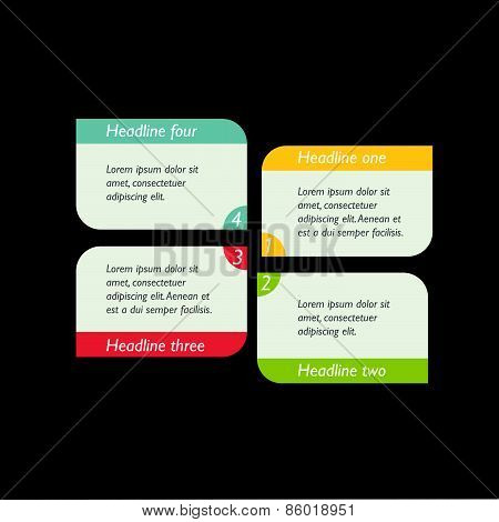 Step By Step Diagram. Infographic Flat Tab.