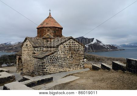 Surp Astvatsatsin Church In Sevanavank Orthodox Monastery,located On Peninsula of Sevan lake
