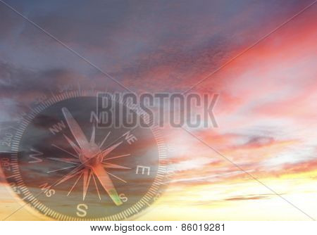 Compass in a bright sky