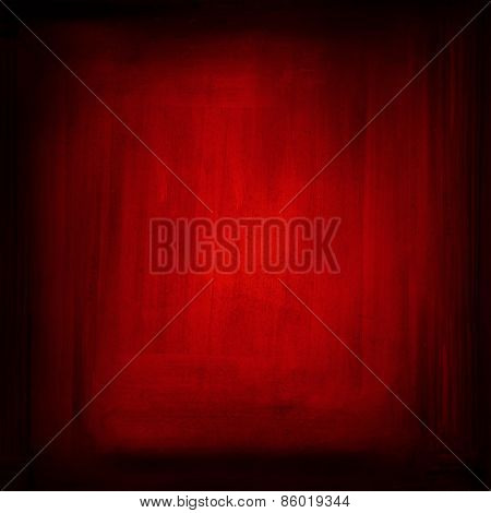 Red grunge textured wall. Dark edges. Advertising copy space