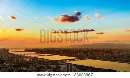 Skyline of Umeda District in Osaka