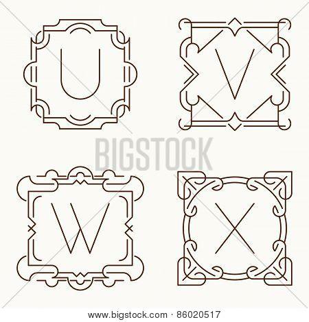 Vector mono line monograms. U, V, W, X.