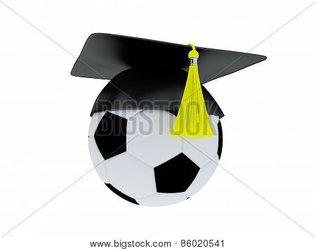 3D Illustration of Ball With Graduation Cap isolated on white